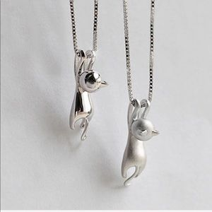 Kitty Hanging ♡  Silver Necklace